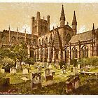 A digital painting of The Cathedral, Chester, England by Dennis Melling