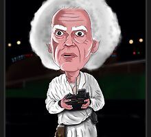 Doc Brown - Back To The Future - Caricature by monkeycircusart