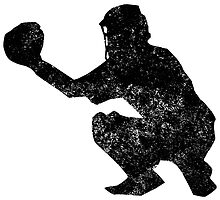 Distressed Baseball Catcher Silhouette by kwg2200