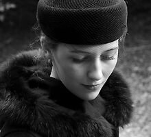 Beautiful Young Woman in Vintage Hat by NoblePhotosCard