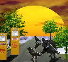 Dream Gas station and Black Birds by shoffman