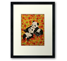 Panda Cubs in Orange Flowers Framed Print