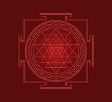 Glowing Sri Chakra Pillow - Red  by Kim  Lynch