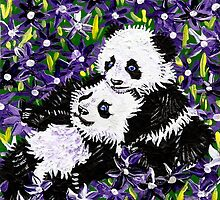 Panda Cubs in Purple by IanLeeOliver