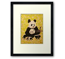 Mother and cub in White Flowers Framed Print