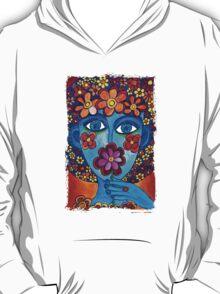 Flower Power Hand Drawn Face T-Shirt