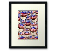USA Flag Cupcakes Pattern Framed Print