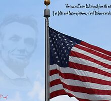 American Flag Abraham Lincoln Quote by rpdavid