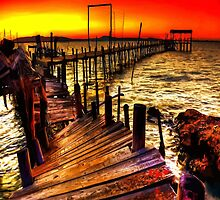 Old  fishing pier at sunset by KpncoolDesigns