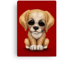 Cute Golden Retriever Puppy Dog on Red Canvas Print