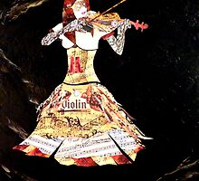 abstract violin contemporary classy Painting DOLCE CONCERTO by hollyanderson