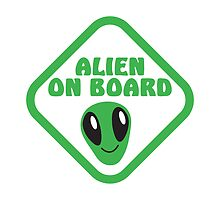 Alien on board with cute alien face by jazzydevil