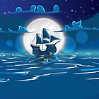 Sailship Voyage under the Moonlight by Nick  Greenaway