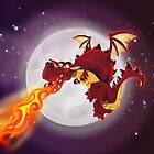mythological dragon flying and breathing fire by Nick  Greenaway