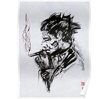 Smoking Man (sumi-e) Poster