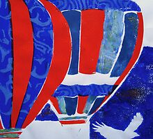 Hot Air Balloon Red White and Blue by Heather Holland by Heatherian