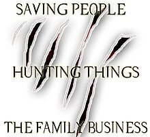 "Supernatural ""Saving People, Hunting Things, The Family Business"" Pillow by Danka Dear"
