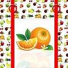 Tutti Frutti Tote Bag Design With Pretend Pocket and Rings Effect by Moonlake