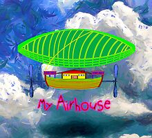 My Airship/Airhouse - pillow & throw by Dennis Melling