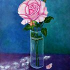 Study of a still life with Soft pink rose by Madalena Lobao-Tello