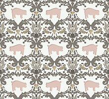 pig damask by Sharon Turner