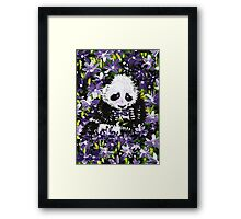 Panda Cub in Purple Flowers Framed Print