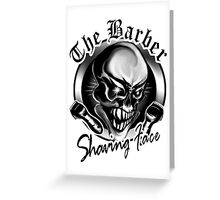 Barber Skull: Shaving Face Greeting Card