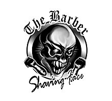 Barber Skull: Shaving Face Photographic Print