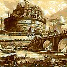 A digital painting of  Castel Sant'Angelo and the Ponte Sant'Angelo, Rome, Italy 1756 by Dennis Melling