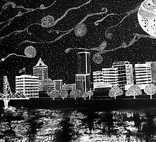 Moonlit Portland Oregon Skyline by Melinda Firestone-White