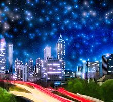 Starry Night Over The Atlanta Skyline by Mark Tisdale
