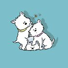 Westie Siblings Chasing the Bee by LucyOlver