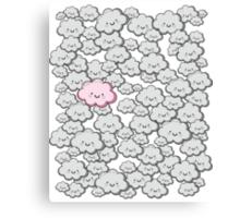 Kawaii Grey Little Clouds Canvas Print