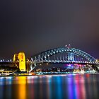 Sydney Harbour Bridge, Sydney, NSW, Australa - Night Time Lights by Ben  Cadwallader