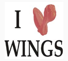 """I love wings"" tee shirt by Mike Barry"