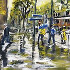 Paris Street Sketch in The Rain by Randy Sprout