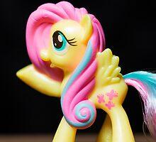My Little Pony Portrait: Fluttershy (on black) by erbeining