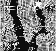 Map of Manhattan Print - Black by aocimages