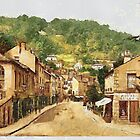 A digital painting of Matlock South Parade and Heights of Abraham, Derbyshire, England by Dennis Melling