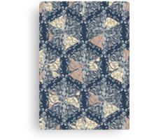 Organic Hexagon Pattern in Soft Navy & Cream  Canvas Print