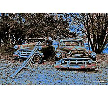 Vintage Decay in Red, White and Blue Photographic Print