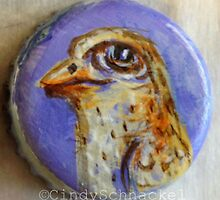Bottle Cap Bird 2 by Cindy Schnackel
