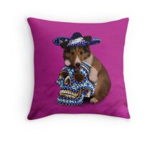 Day Of The Dead Sheltie Puppy Throw Pillow