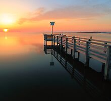Dock and Sunset on Pamilico Sound, North Carolina by Roupen  Baker