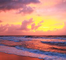Sunrise clouds over Atlantic Ocean Surf and the Beach by Roupen  Baker