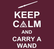 Keep Calm And Carry A Wand - Harry Potter T-Shirt by CaffeineSpark