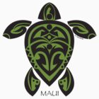 Black & Green Tribal Turtle Tattoo / Maui by Susan R. Wacker