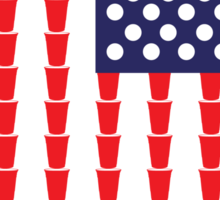 BEER PONG AMERICAN FLAG Sticker