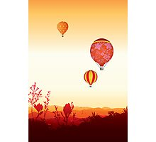 Hot air balloons sunset valley Photographic Print