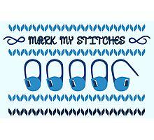 Mark my Stitches! - Blue Apparel Photographic Print